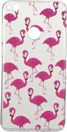 Huawei P8 Lite (2017) Hoesje - Zachte Back Case Flamingo's Transparant