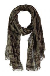 Claudia Sträter sjaal met all over print donkerbruin/olijfgroen