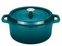 Sola Braadpan - Gietijzer - Blauw/Groen - Met deksel - Ø28 cm