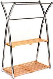 Handdoekenrek Five5 - bamboe - roestvrij staal