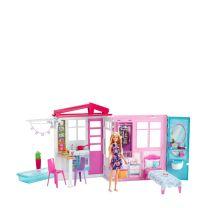 Barbie draagbaar huis met pop