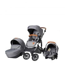 Kinderwagen 3in1 Born Lucky Rapsodie - Incl. Autostoel - Grijs