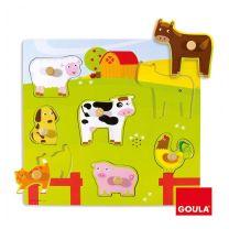 Goula boerderijdieren houten vormenpuzzel 7 stukjes