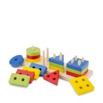 Vormen puzzel hout New Classic Toys Geometrische vormenpuzzel 16 stukjes