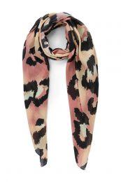 PIECES sjaal met luipaardprint Leslie roze