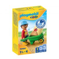 Playmobil 1-2-3 Bouwvakker met kruiwagen 70409