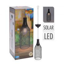 Home & Styling - Solar buiten hanglamp - Zwarte metalen industriële look - Flesvormig
