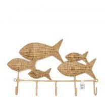 Riviera Maison Rustic Rattan Happy Fish Coat Rack - Kapstok - Natural - 4.5 x 50.0