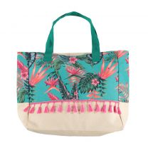 Sarlini shopper met all over print turquoise