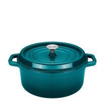 Sola Braadpan gietijzer blauw/groen met deksel 20 cm