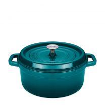 Sola Braadpan - Gietijzer - Blauw/Groen - Met deksel - Ø28 cm KOOPJESHOEK