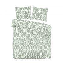 W polyester-katoenen dekbedovertrek lits-jumeaux groen/wit