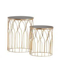 Bijzettafel (set van 2) Goud kleurig metalen frame met Marmer blad