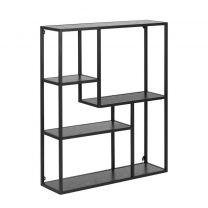 Meubelen-Online Honkytonk Wandrek asymmetrisch zwart essen - 20x75x91cm - Industrieel